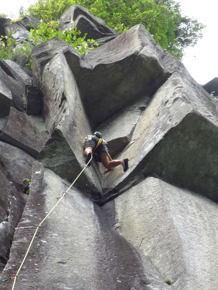 The author on one of the best routes anywhere: Natural Log Cabin.  INDEX 5.11D...