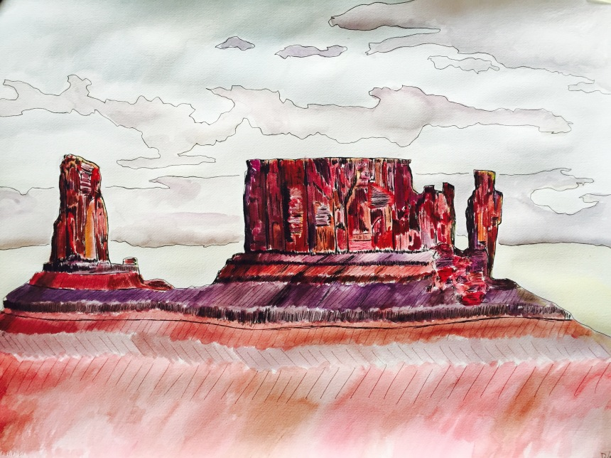 Castle Valley, watercolor, pen and ink, 33x20.  http://dylanjohnart.com/.