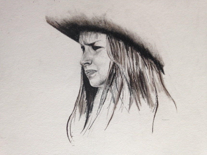Cowgirl, charcoal, 15x11.  dylanjohnart.com